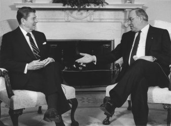 President Reagan Meets with Helmut Kohl