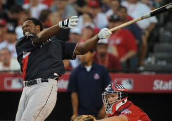 National League All-Star Hanley Ramirez reacts during Home Run Derby in Anaheim, California