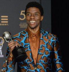 Chadwick Boseman wins award at the 50th NAACP Image Awards in Los Angeles