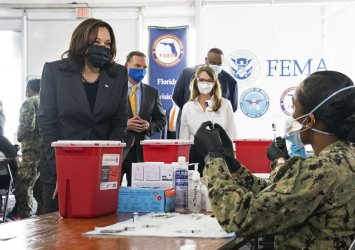Vice President Harris Visits a COVID Vacination Center in Florida