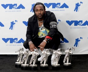 Kendrick Lamar wins awards at the 2017 MTV Video Music Awards in Inglewood, California