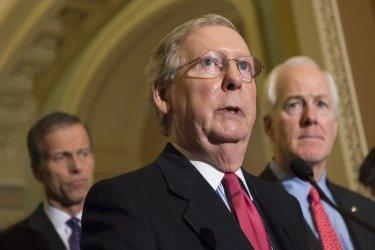 Senate Republicans speak to reporters in  Washington, D.C,