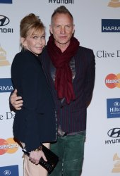 Musician Sting and his wife Trudie Styler attend the Clive Davis pre-Grammy party in Beverly Hills, California