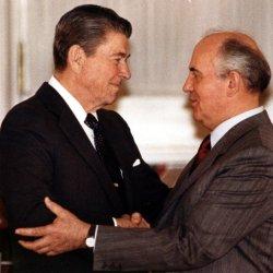 President Reagan and Mikhail Gorbachev Embrace Over INF Treaty