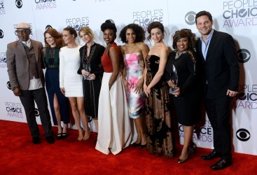 James Pickens, Jr., Sarah Drew, Camilla Luddington, Ellen Pompeo, Jerrika Hinton, Kelly McCreary, Caterina Scorsone, Chandra Wilson and Justin Chambers garners award at the 42nd annual People's Choice Awards in Los Angeles