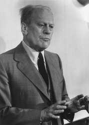 Gerald Ford speaks to the press