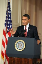 President Obama holds his first presidential press conference at the White House in Washington