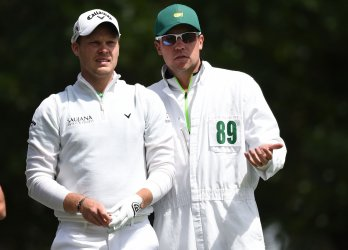 Danny Willett and caddie Jonathan Smart at the Masters