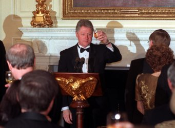 President Clinton toasts