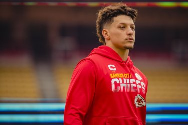 Chiefs Patrick Mahomes walks off the field during warmups