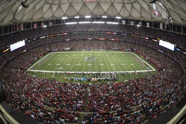 Atlanta Falcons kick off during NFC Championship at final NFL game in Ga. Dome