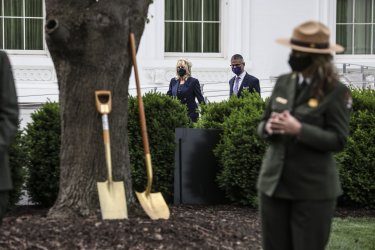 First Lady Jill Biden Participates in an Arbor Day Tree Planting Ceremony