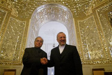 Iran's Foreign Minister Manouchehr Mottaki meets Indian Foreign Minister Mukherjee in Tehran