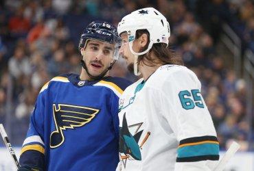 San Jose Sharks Erik Karlsson talks to St. Louis Blues Robby Fabbri