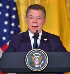 President Trump and President Santos of Colombia hold a press conference at the White House