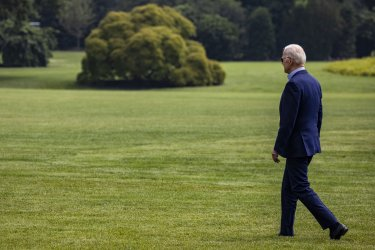 Marine One takes off from the South Lawn with President Joe Biden