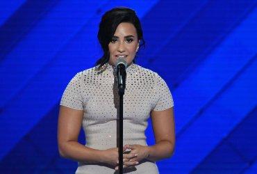 Singer Demi Lovato speaking at the DNC in Philadelphia