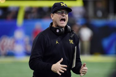 Michigan coach Jim Harbaugh during 2018 Chick-fil-A Peach Bowl in Atlanta