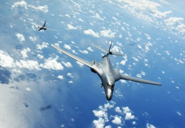 U.S. Air Force bombers conduct training with U.S. Navy in South China Sea
