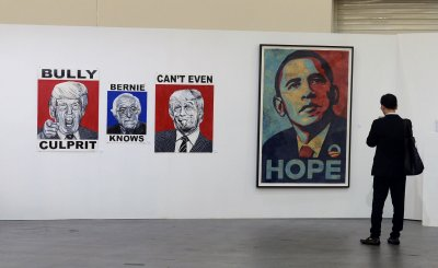 Political art is displayed at Poiliticon in Paseadena, California