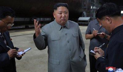 North Korean Leader Kim Jong Un Inspects New Submarine