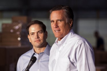 Republican Presidential Candidate Mitt Romney holds a town hall meeting with Sen. Marco Rubio in Pennsylvania