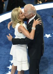 Vice Pres Joe Biden and wife Dr Jill Biden kiss onstage at the DNC convention in Philadelphia