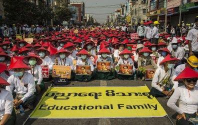 Burmese  Demonstrate Against  Military Coup in Myanmar