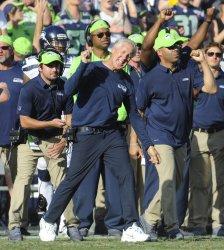 Seattle Seahawks head coach Pete Carroll celebrates  in Los Angeles, California