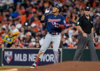 Twins' Jorge Polanco celebrates a single