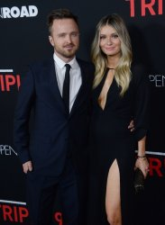 "Aaron Paul and Lauren Parsekian attend the ""Triple 9"" premiere in Los Angeles"