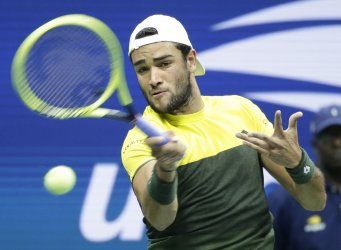 Matteo Berrettini of Italy hits a forehand at the US Open