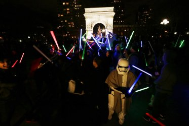 NYC Star Wars Lightsaber Battle at Washington Square Park