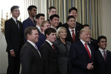 Donald Trump greets college athletes at the White House