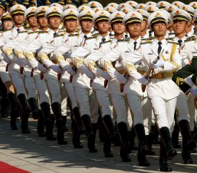 Chinese soldiers perform military honor guard duties in Beijing, China