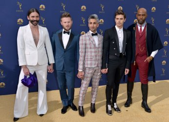 "Jonathan Van Ness, Bobby Berk, Tan France, Antoni Porowski, and Karamo Brown of ""Queer Eye"" attend the 70th annual Primetime Emmy Awards in Los Angeles"