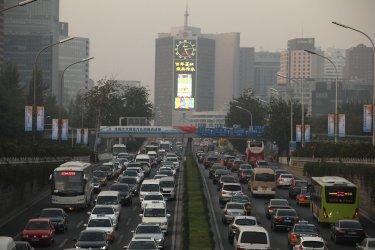 Heavy traffic inches through Beijing