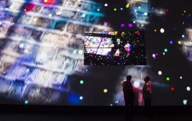 Samsung QLED TV demonstrated at the 2017 International CES .