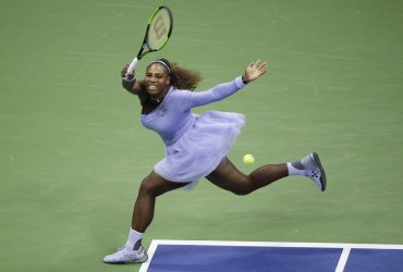 Serena Williams hits a forehand at the US Open