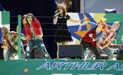 Demi Lovato performs at Arthur Ashe Kids' Day at the US Open in New York