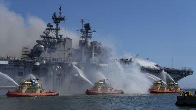 USS Bonhomme Richard (LHD 6) on Fire at Naval Base San Diego