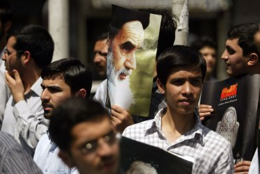 Radical Iranian students demonstrate in front of the British Embassy in Tehran