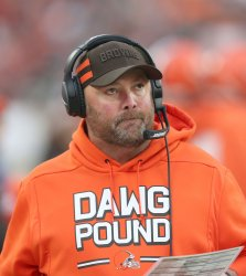 Browns offensive coordinator Freddie Kitchens looks on against Bengals