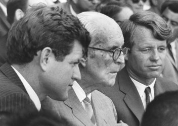 Father Joseph P. Kennedy attends opening game of the world series at Fenway Park with his sons Edward M. Kennedy and Sen. Robert F. Kennedy