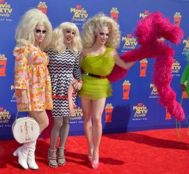 Trixie Mattel, Katya Zamolodchikova and Alyssa Edwards attend the MTV Movie & TV Awards in Santa Monica, California