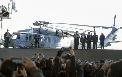 President Trump Speaks on his Defense Budget aboard the Gerald Ford in Newprot News, Virginia