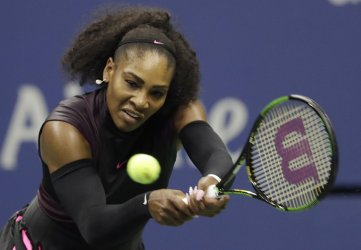 Serena Williams hits a backhand at the US Open