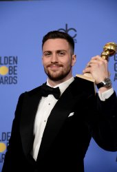Aaron Taylor-Johnson wins the Best Performance by an Actor in a Supporting Role in Any Motion Picture award at the 74th annual Golden Globe Awards in Beverly Hills