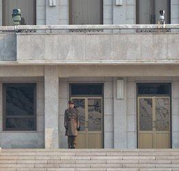 North Korean stands at DMZ in Korea