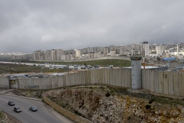 The Israeli Separation Wall Separates Jerusalem and Ramallah in the West Bank